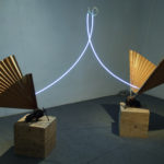 Philip Centenari, Elevation-2012-paper-iron-wood-and-neon-transformer-size-environmental
