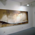 "Luca Gastaldo, ""Flavors of the earth"" 150x400 Bitumen and dye on canvas 2009"