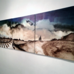 """Luca Gastaldo, """"Vespri"""" 100x300 bitume e colorante su tela 2011"""