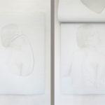 Melissa Provezza, If, olio su tela, supporto in legno (2 strati di tela dipinti,vista del I e del II strato), cm 70x50