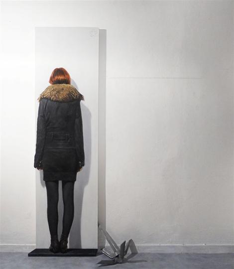 Matteo Tenardi -  *  -, olio e tempera su tavola sagomata 200x70cm e scritta su muro, 220x130cm, 2014