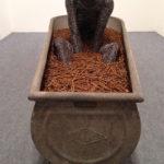Fabrizio Pozzoli, Never mind 2015 filo di ferro, chiodi ossidati e vasca di zinco cm.90x175x70